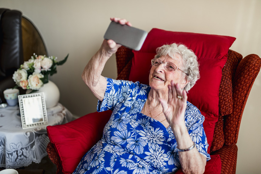 Grandma with video phone