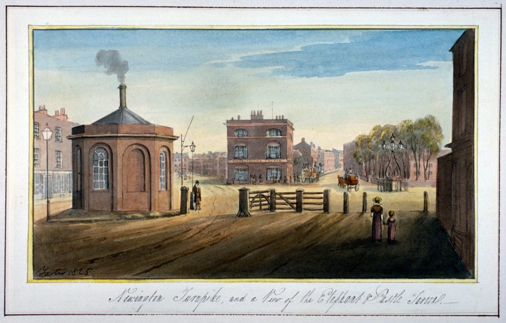 Newington Turnpike on Newington Causeway, Southwark, London, 1825. Artist: G Yates. Image shot 1825.