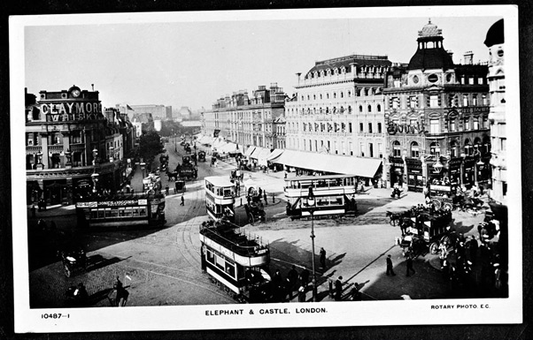 Aerial view of Elephant and Castle, London. Date: circa 1910s